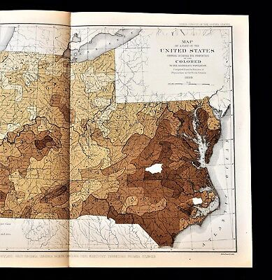 1880 Virginia Tennessee Kentucky Map COLORED POPULATION Ohio Indiana ORIGINAL