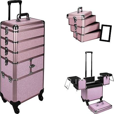 SUNRISE Rolling Makeup Case, Aluminum, 3 Stackable Trays and Two 3 Tiers, Lock