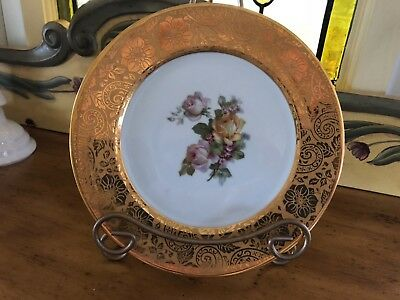 Rosenthal Gold Encrusted Plates Bavaria Floral Spray In Center Beautiful