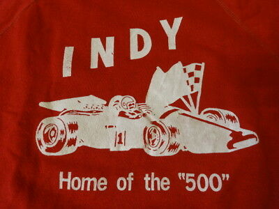 "Vintage 60s 70s "" INDY 500 "" Racing Crewneck Sweatshirt Dead Stock New Old  ASIS"