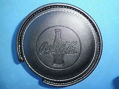 REDUCED! NIB Set of 4 Round Coca Cola Black Coasters with Holder