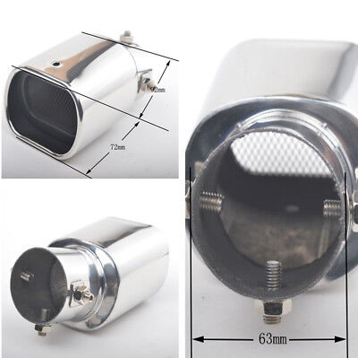 Fashion Stainless Steel 63mm Car Curved Square Exhaust Pipe Tip Tail Muffler New