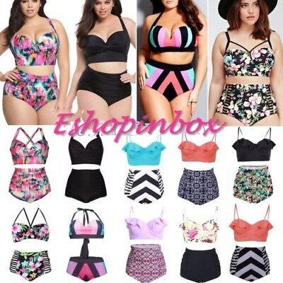 Plus Size Womens Swimwear High Waist Bikini Set Push-up Swimsuit Bathing L - 4XL