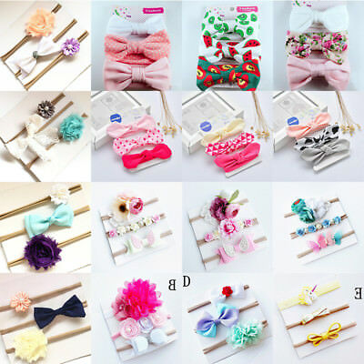 Beauty 3Pc Baby Girls Infant Toddler Flower Bow Headband Hair Band Accessory lot