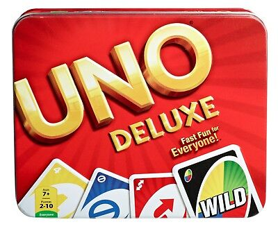 UNO Card Game Tin Deluxe Play Rules Family Fun Kids Teens Adults Standard Cards