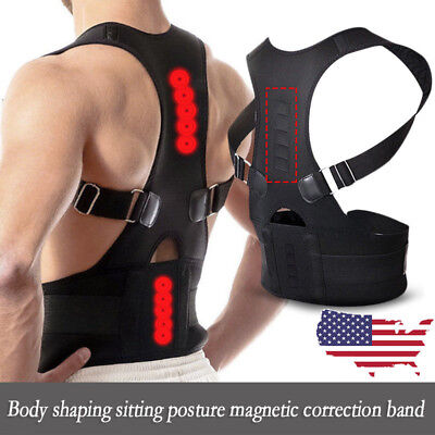 Shoulder Posture Corrector Body Back Pain Belt Brace Support Magnetic Therapy