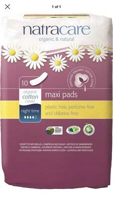 (2)Natracare Organic Cotton Natural Feminine Night Time Maxi Pads, Long 10