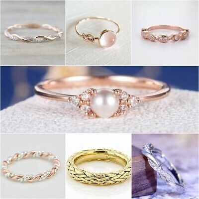 Unisex 18K Rose Gold Plated Silver Plated White Sapphire Wedding Jewelry Ring