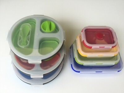 containers food storage 4 Pcs silicone collapsable + 3 lunchbox  (7 piece)