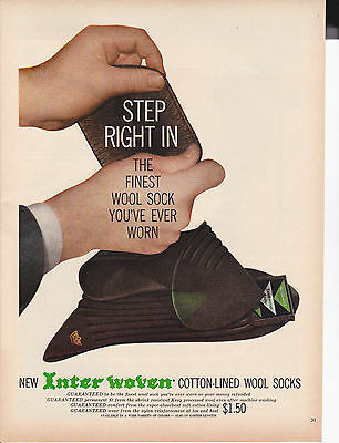 Original Print Ad-1959 New INTERWOVEN COTTON LINED WOOL SOCKS-Step right in