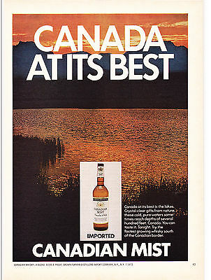 Original Print Ad-1972 IMPORTED CANADIAN MIST-CANADA AT ITS BEST-Cold/Pure Lakes