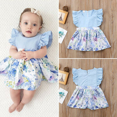 UK Stock Newborn Toddler Baby Girls Summer Floral Princess Party Dress Sundress