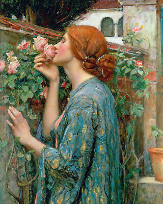 Young Woman Girl Smelling Roses Flowers Oil Painting Real Canvas Art Print