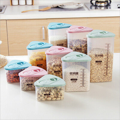 Plastic Kitchen Food Cereal Grain Bean Rice Storage Box Container Box Cases