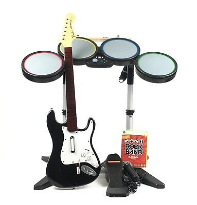 Xbox 360 rock band 1 special edition bundle complete set drums xbox 360 rock band bundle complete wireless guitar drum wired mic game tested publicscrutiny Gallery