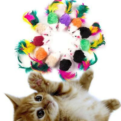 5Pcs Soft Fleece False Mouse Cat Toys Colorful Feather Funny Playing Toys AU