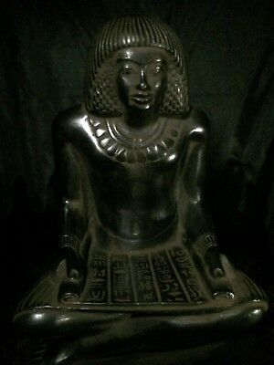 ANCIENT EGYPT EGYPTIAN RARE Statue ANTIQUE Seated Squatting Scribe STONE Bc