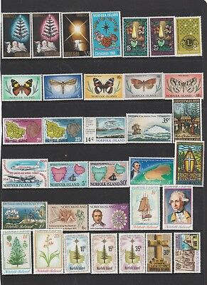 Norfolk Island.  34 Individual Different Mint Unhinged Stamps.   See Photo