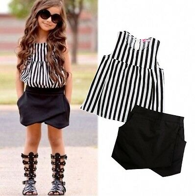 UK Stock Toddler Kids Girls Summer Striped Tops Shirt Shorts Outfits 2Pcs Set