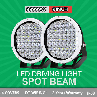 Pair 9 inch 99999W CREE Round LED SPOT Driving Lights Off Road 4x4 Spotlights