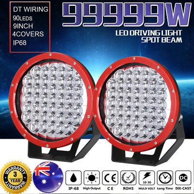 9inch 99999W Cree LED Spot Driving Lights Intensity Spotlights Round Offroad Red