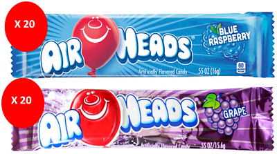 COMBO AIR HEADS x 40 16g BARS - BLUE RASPBERRY & GRAPE FLAVOURED CANDY AMERICAN