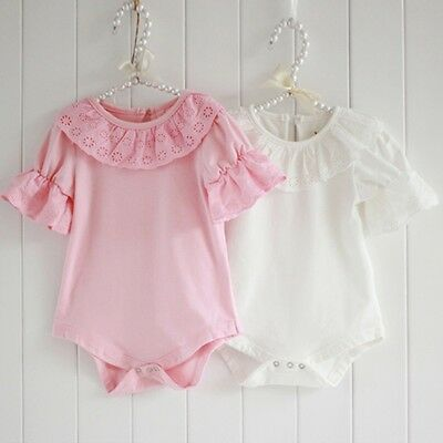 UK Stock Newborn Toddler Baby Girls Lace Bodysuit Romper Jumpsuit Outfit Clothes
