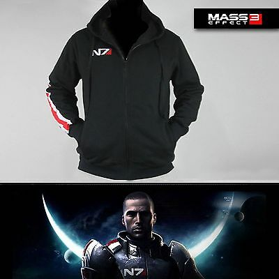 Mass Effect 3 N7 Cotone Cosplay Cappotto Giacca Costume Felpa Hoody M-XXL