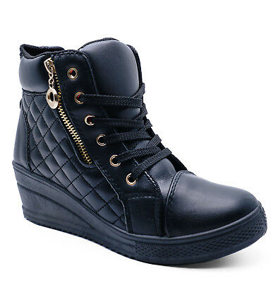 Womens Black Hi-Top Trainer Boots Low-Wedge Comfy Casual Shoes Sizes 3-8