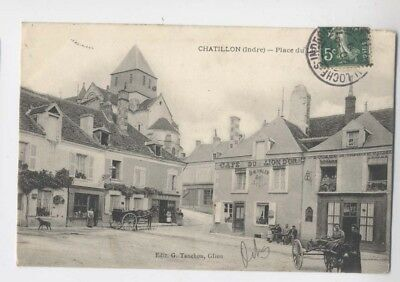 Chatillon (36 - Indre) - 1908 - Place du Lion d´Or - Café du Lion d´Or - Louage