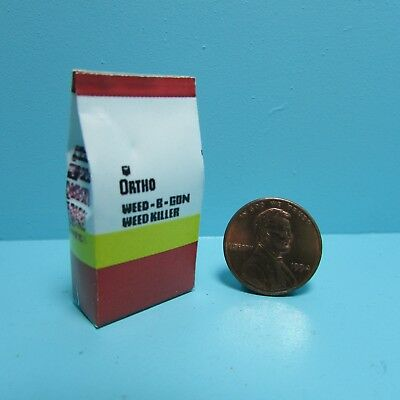 Dollhouse Miniature Replica Bag of Ortho Weed-B-Gon Weed Killer ~ HR56002