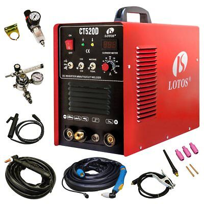 Lotos CT520D Plasma Cutter Tig Stick Welder 3 in 1 Combo Welding Machine, 50Amp