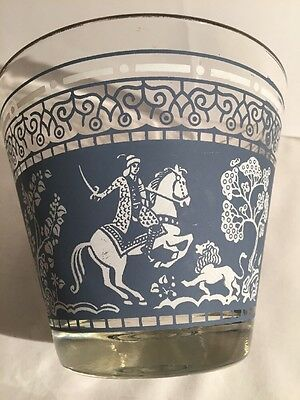 Glass Ice Bucket Vintage Asian Indian Design Wedgewood Blue Madmen Style GC