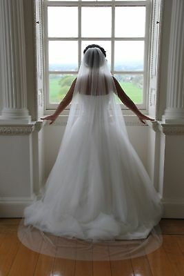 1 Tier Chapel Floor Length Veil Bridal Wedding Cut Romantic Edge Ivory/White UK