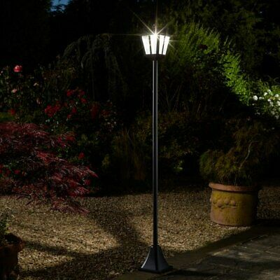 Solar Powered Victorian Style Lamp Post Garden Outdoor Bright White LED Light