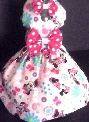 DOG DRESS/harness MINNIE MOUSE /MATCHING HAIR BOW NEW  FREE SHIPPING