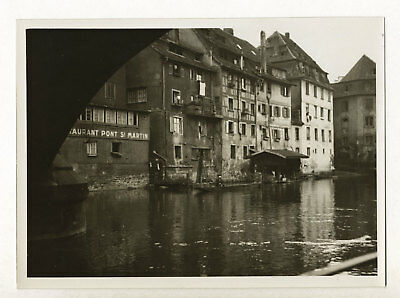 Strasbourg : bords de l'Ill près du Pont Saint-Martin c. 1935 - Photo vintage