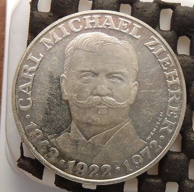 1972 Austria Silver Proof 25 Schilling - Death of Carl M. Ziehrer KM# 2912