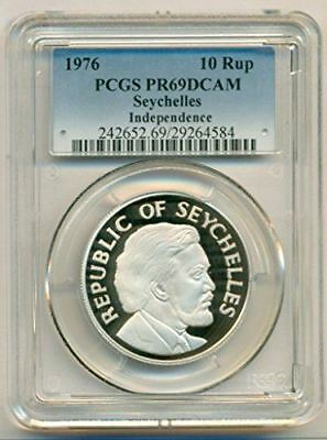 Seychelles Silver 1976 10 Rupees Independence PR69 DCAM PCGS Low Mintage