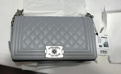 8ce8c96714ad BNIB AUTHENTIC CHANEL Grey Caviar Calfskin Medium Boy Flap Bag Gold ...