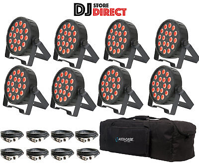 8X QTX PAR100 Powerful Par Can COB LED RGB UP LIGHTS PAR56 + F8 Bag + 8X DMXs