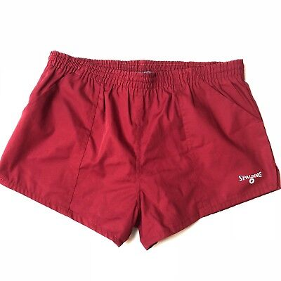 Spalding Tennis Short Shorts 80s Coach RED Vtg Mens Lined Chubbie style