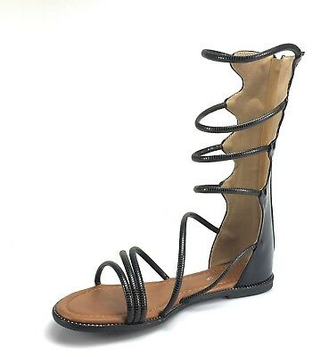 a1b4db46c47 Womens Golden Strappy Wrap Up Zip Up Gladiator Sandal Flat Forever Link  Katia-49