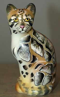 Fenton Art Glass OOAK Handpainted Clouded Leopard Figurine