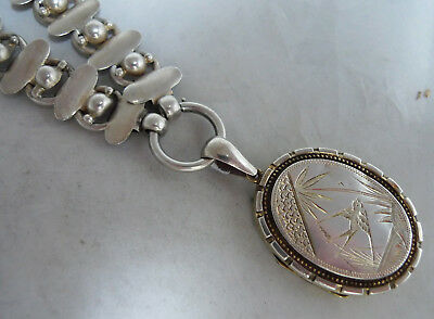 Victorian Aesthetic Period Silver Collar & Locket Necklace 40g 42.5cm x 1.6cm A6