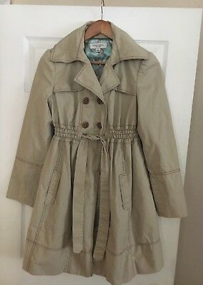 Liz Lange for Target Maternity Trench Coat Jacket Khaki Small Fully Lined