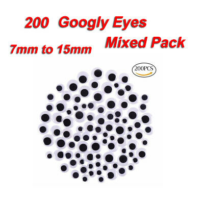 200 Googly Wiggly Wobbly Eyes Scrapbooking Crafts NEW 3 Mixed Sizes 7mm to 15mm