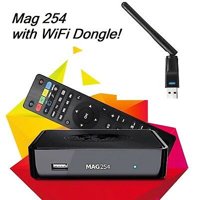 MAG 254 Linux Infomir IPTV Box with USB Wireless WiFi Dongle Faster than Mag 250