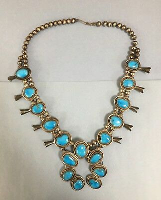 "Navajo Native Turquoise Sterling Silver Squash Blossom Necklace 24"" #NS136"