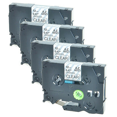 4 PK Black on Clear TZe-131 TZ-131 Label Tape For Brother P-touch PT-2730 300B